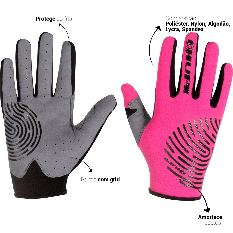 Luva HUPI Dedo Longo Biometria Full Rosa