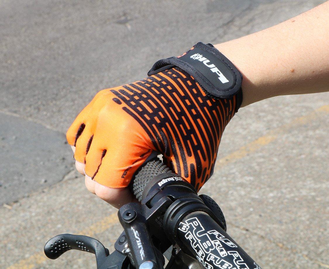 Luva Ciclismo HUPI Eco Dedo Curto Biometria Laranja Neon