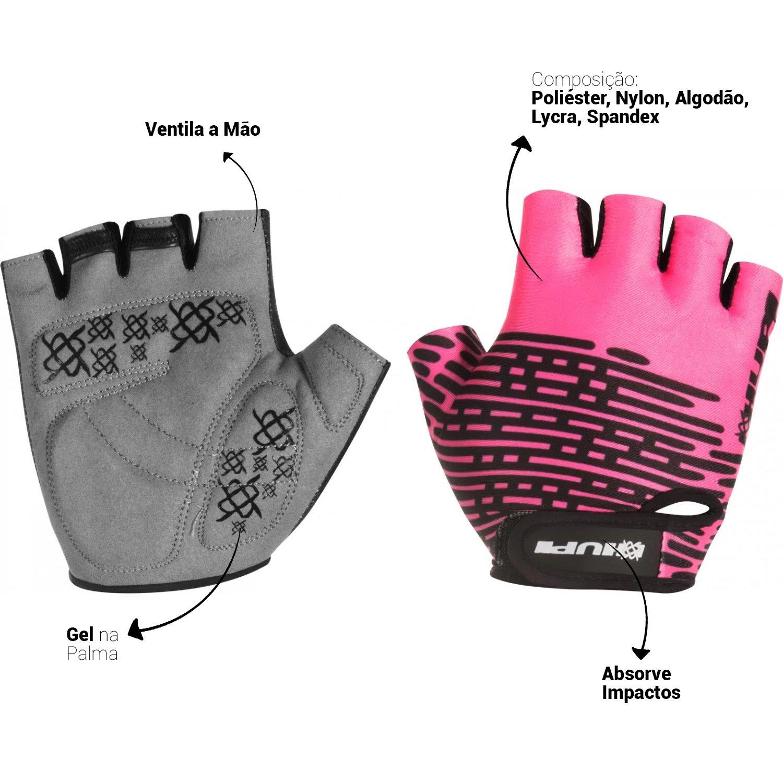 Luva HUPI Eco Dedo Curto Biometria Rosa Neon