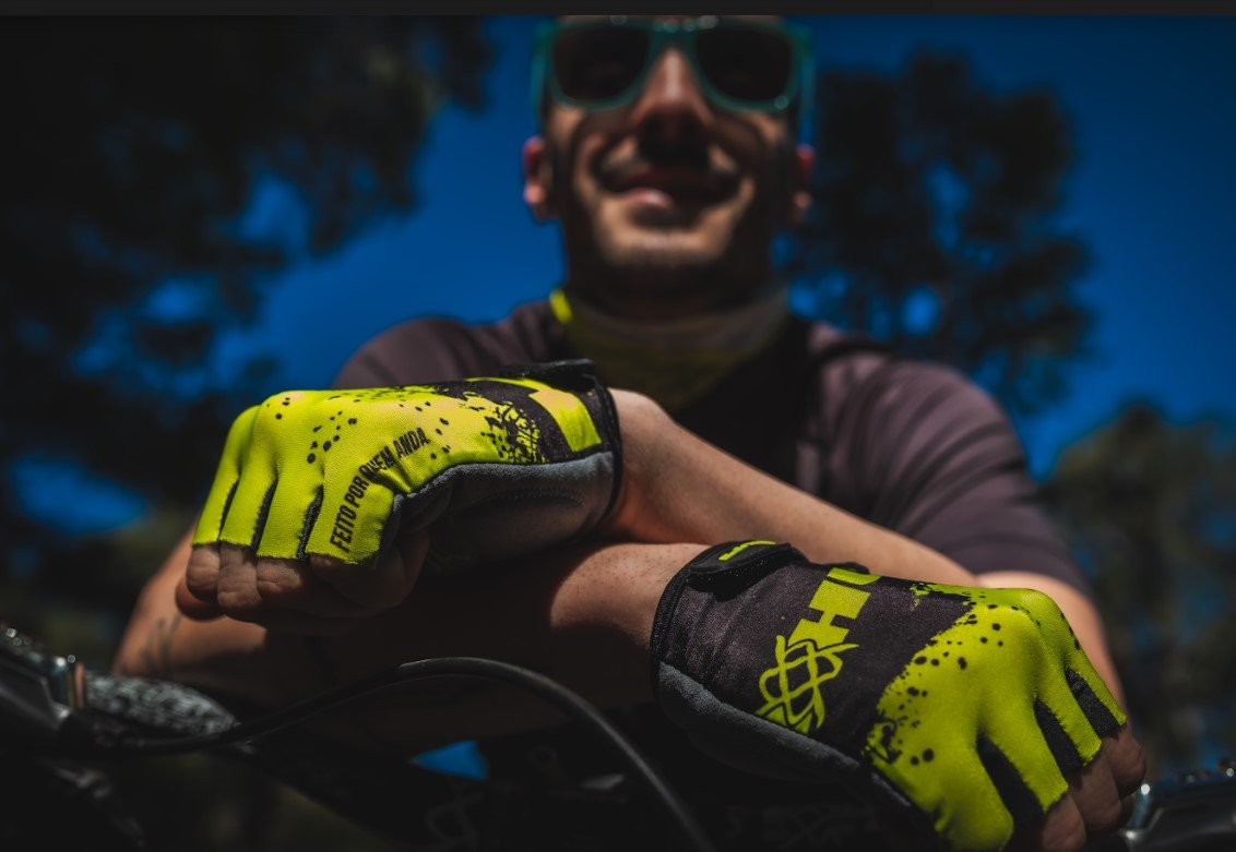 Luva Ciclismo HUPI Eco Dedo Curto Splash Amarelo/Preto