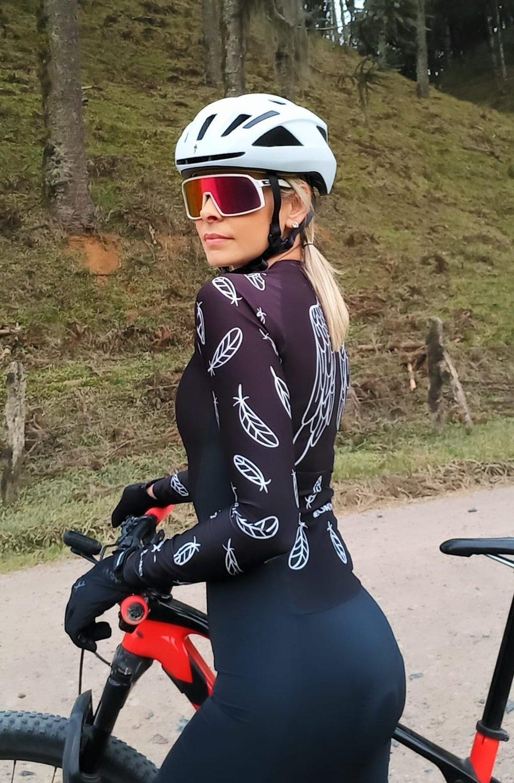 Macaquinho Ciclismo HUPI Asas Preto Manga Longa