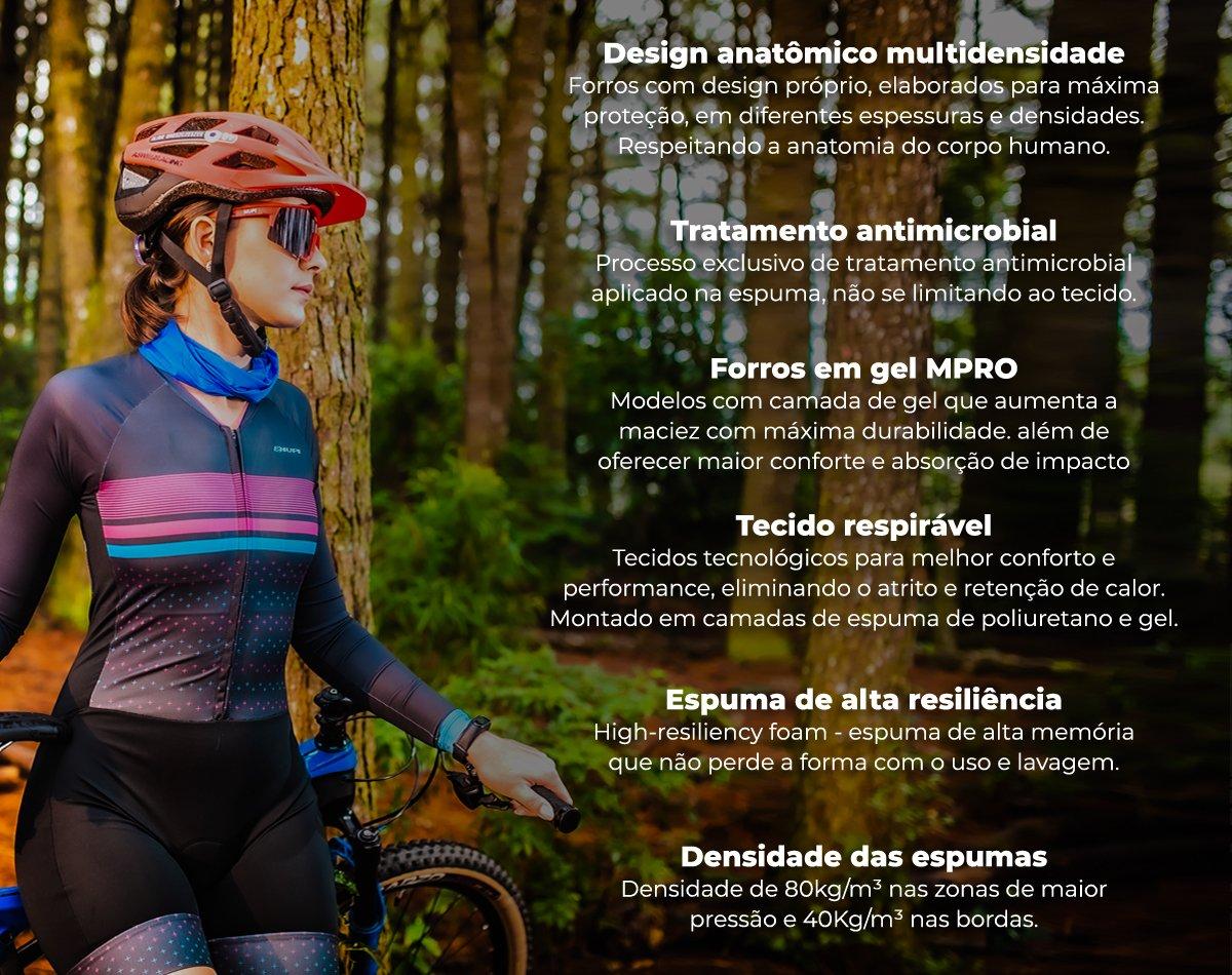 Macaquinho Ciclismo Feminino HUPI Like a Girl Gold Manga Longa