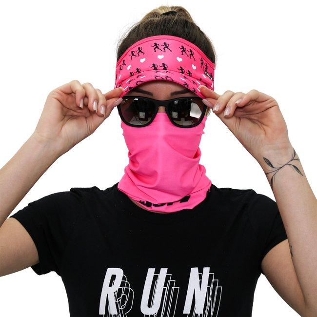 Kit Corrida Viseira e Bandana - Love Run Rosa