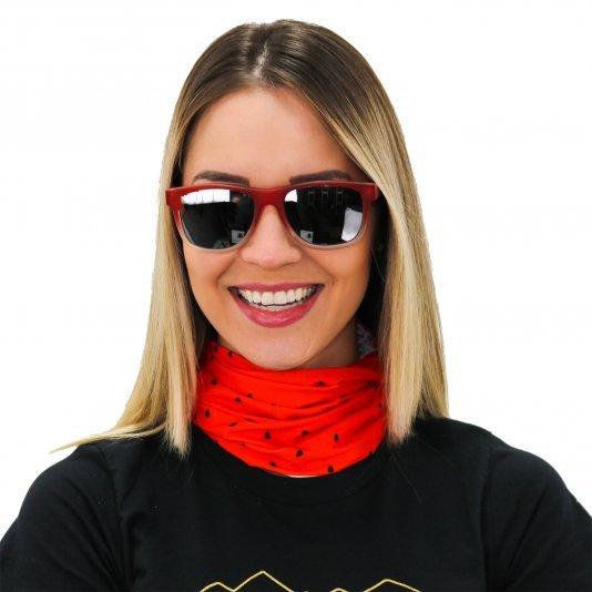Kit pedal Óculos de Sol HUPI Brile Armação Vermelho/Cristal Lente Preta Espelhada e Bandana Melancia