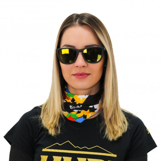 Kit Pedal Óculos de Sol HUPI Paso Armação Preto Fosco Lente Verde Espelhado e Bandana Colorful