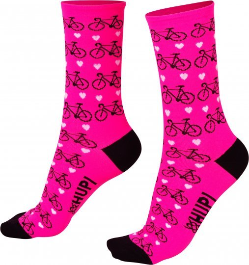 Meia HUPI Rosa Love Bike
