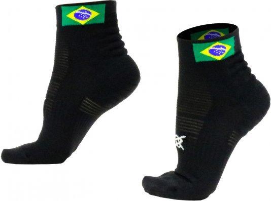Meia Curta para Corrida HUPI - Running Pro Brasil Preto