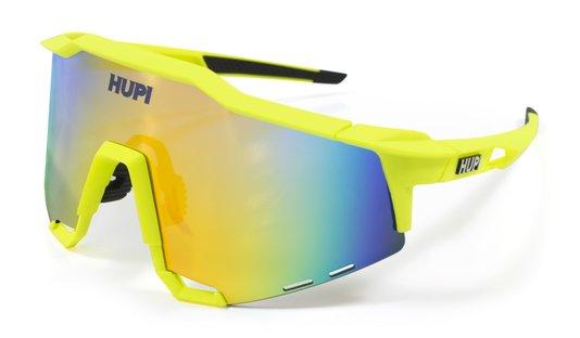 Óculos de Sol  HUPI Stelvio Amarelo Neon/Preto - Lente Dourado Espelhado