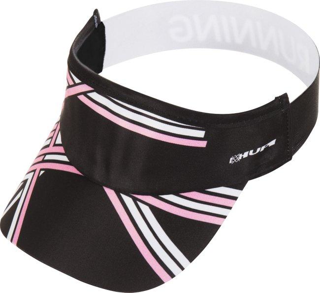 Viseira para corrida HUPI preto branco e rosa.