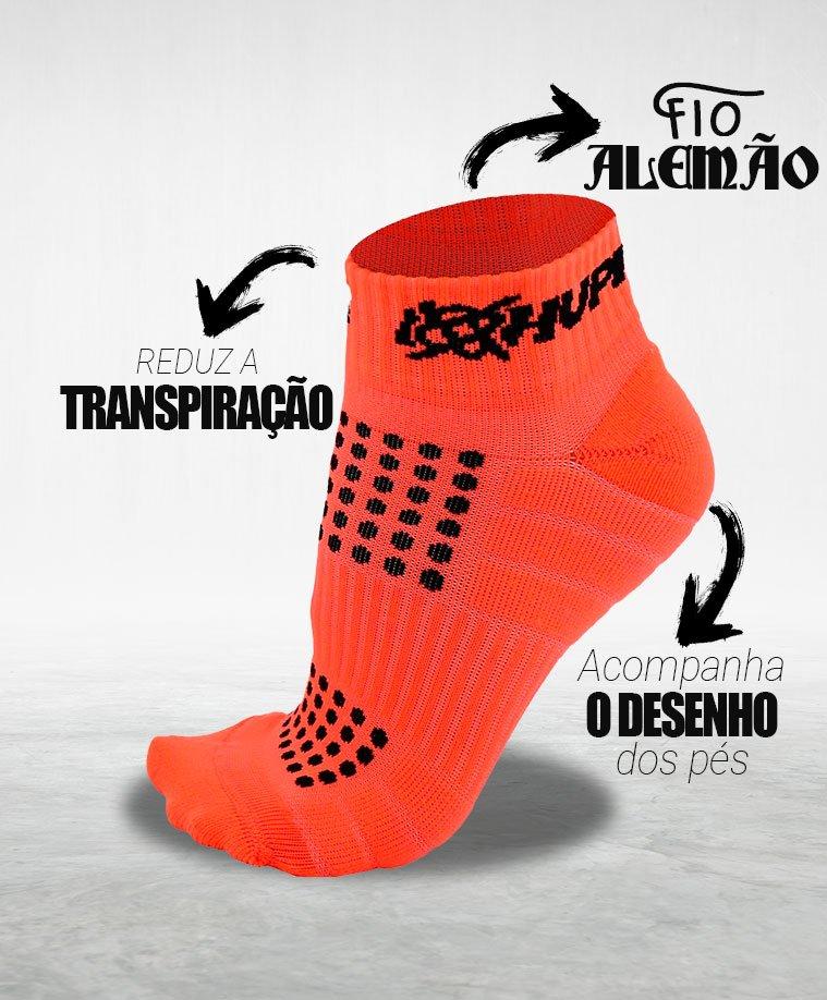 Meia Curta para Corrida HUPI Running Pro Laranja Neon