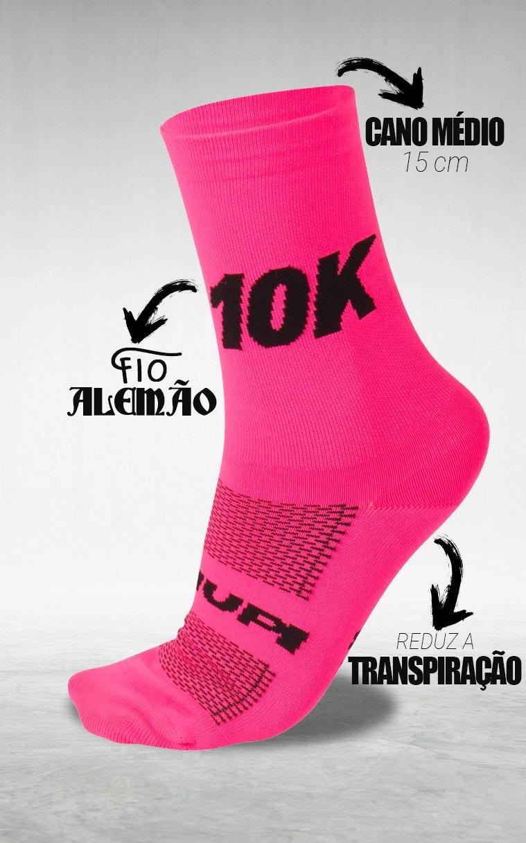 Meia HUPI 10K Rosa - LT para pés menores 34-38