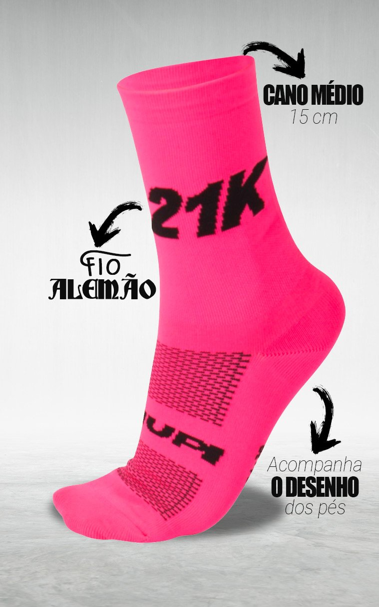 Meia HUPI 21K Rosa - LT para pés menores 34-38
