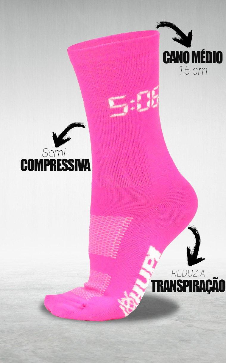 Meia HUPI 5:06 AM Rosa Neon - LT para pés menores 34-38