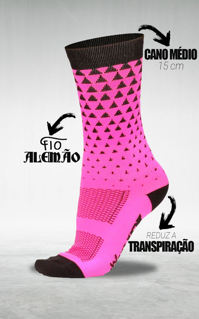 Meia HUPI Alpine Rosa - LT para pés menores 34-38