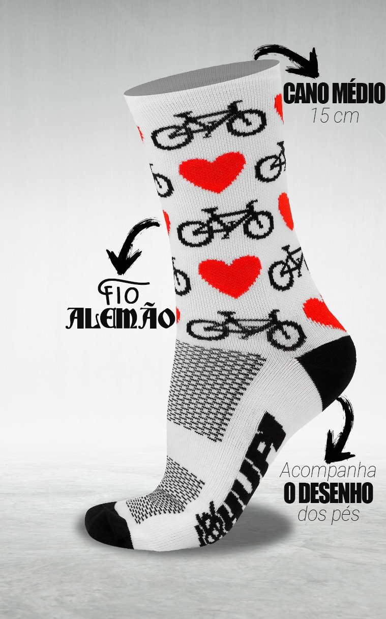 Meia HUPI Love Bike Branco - LT para pés menores 34-38