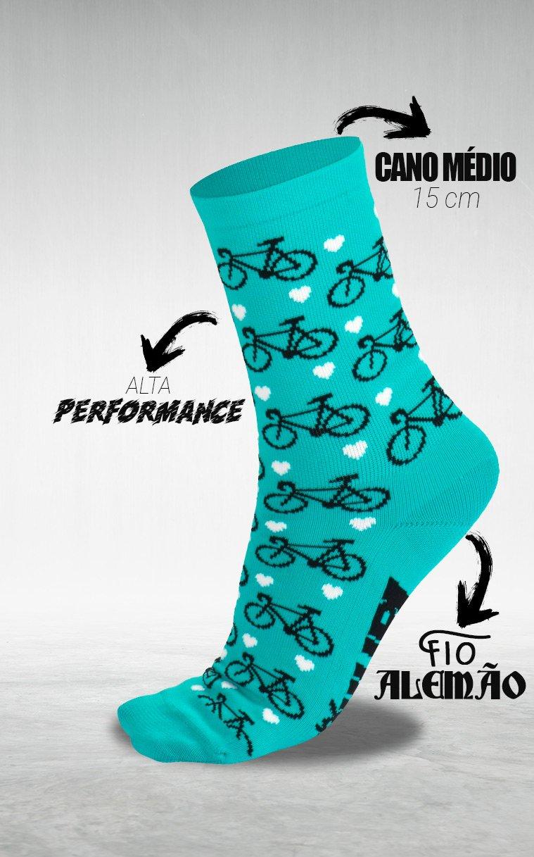 Meia HUPI Love Bike Verde Água - LT para pés menores 34-38