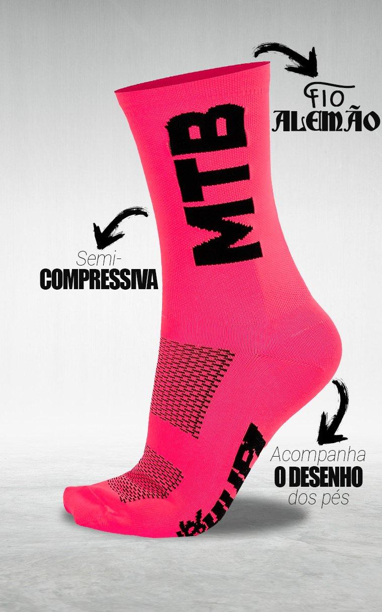 Meia HUPI MTB 2 Rosa - LT para pés menores 34-38