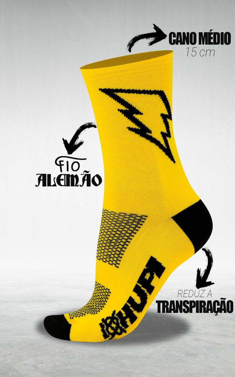 Meia HUPI Raio Amarelo/Preto