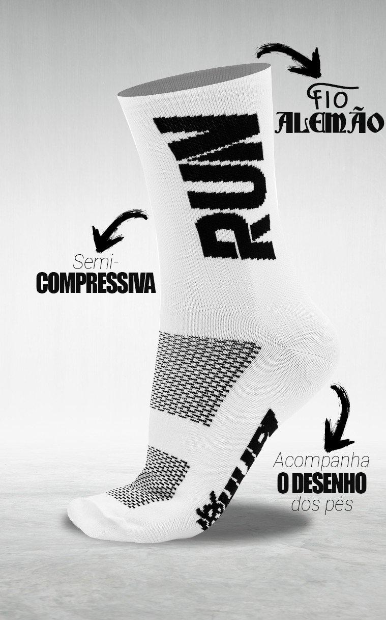 Meia HUPI Run Branco/Preto - LT para pés menores 34-38