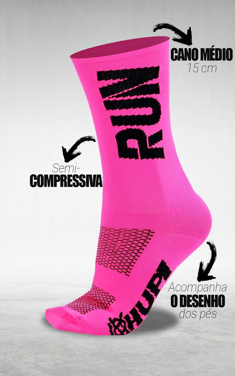 Meia HUPI Run Rosa/Preto - LT para pés menores 34-38