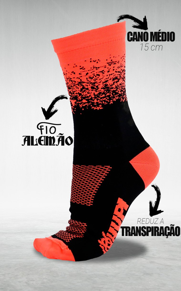 Meia Hupi Splash Preto/laranja Neon