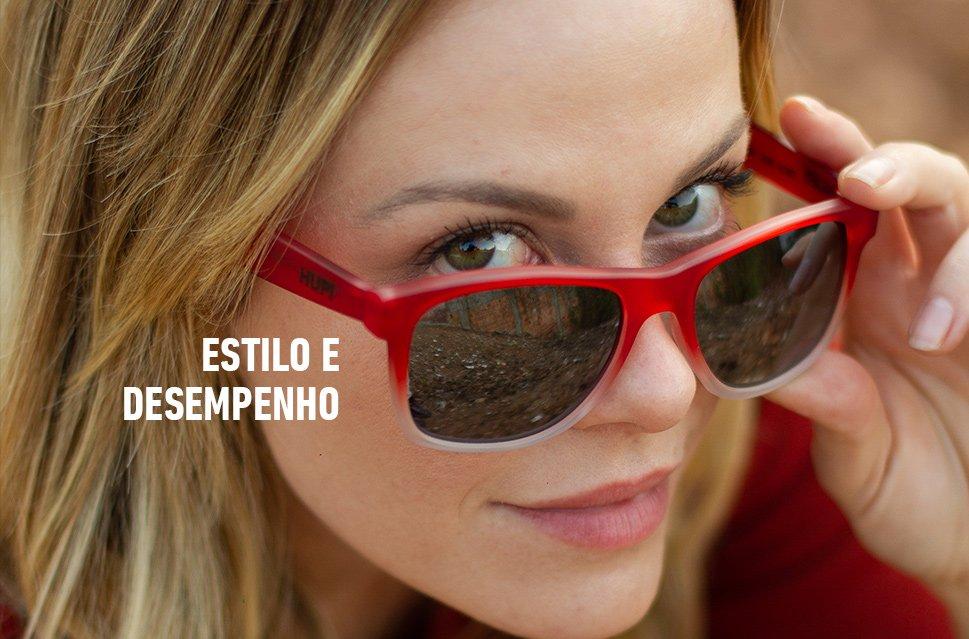 Óculos de Sol HUPI Brile Armação Vermelho/Cristal Lente Preta Espelhada