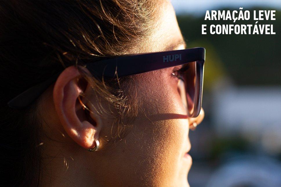 Óculos de Sol HUPI Luppa Armação Cinza Fosco Lente Degradê -  para rostos GRANDES