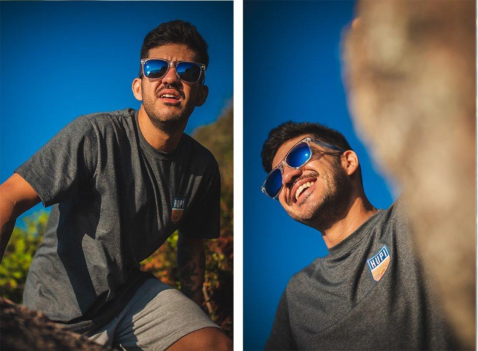 Óculos de Sol HUPI Luppa Armação Cristal/Azul Lente Azul Espelhado - para rostos GRANDES