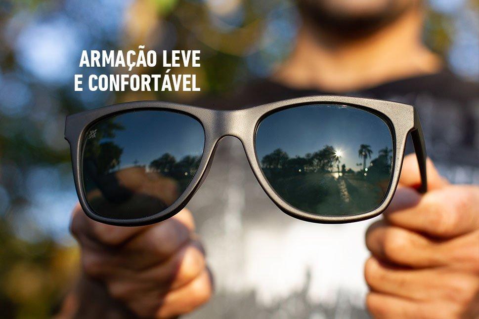 Óculos de Sol HUPI Luppa Armação Preto Fosco Lente Verde - para rostos GRANDES