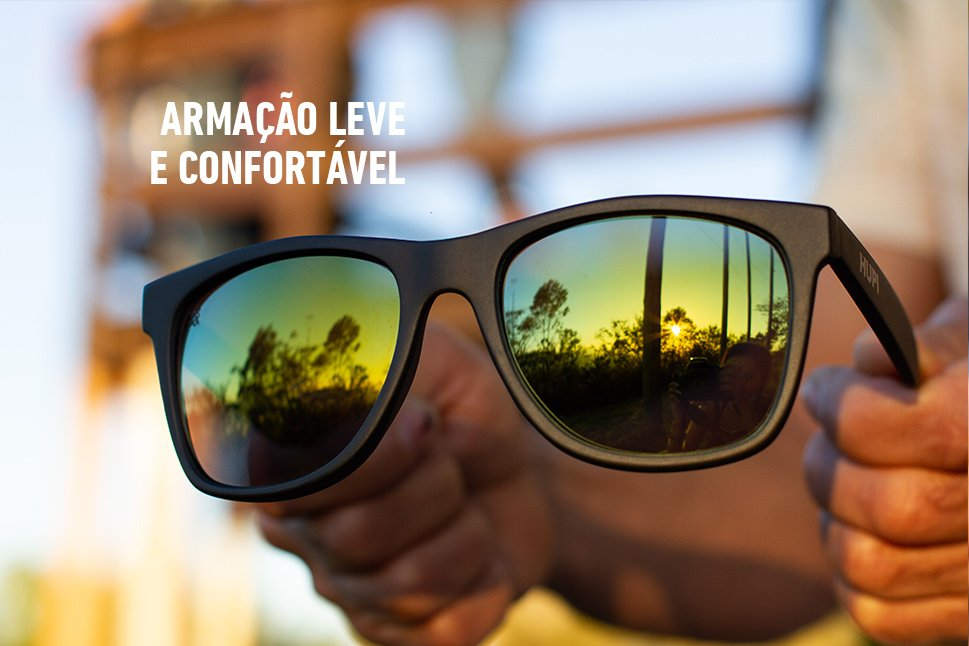 Óculos de Sol HUPI Luppa Armação Preto Fosco Lente Verde Espelhado - para rostos GRANDES