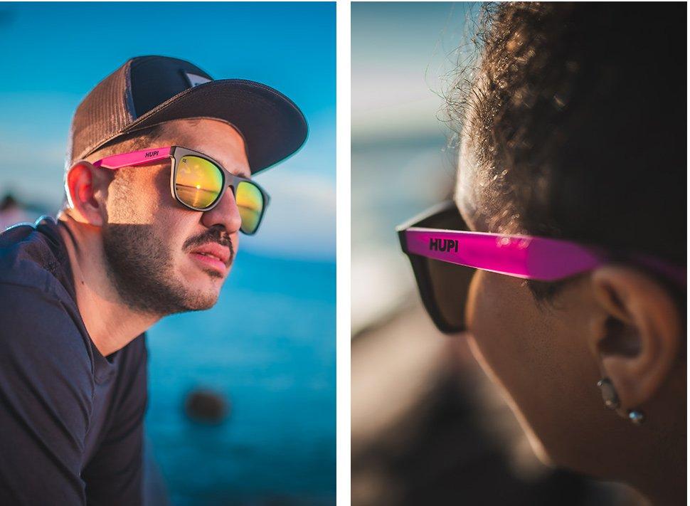 Óculos de Sol HUPI Luppa Armação Preto/Pink Lente Vermelho Espelhado - para rostos GRANDES