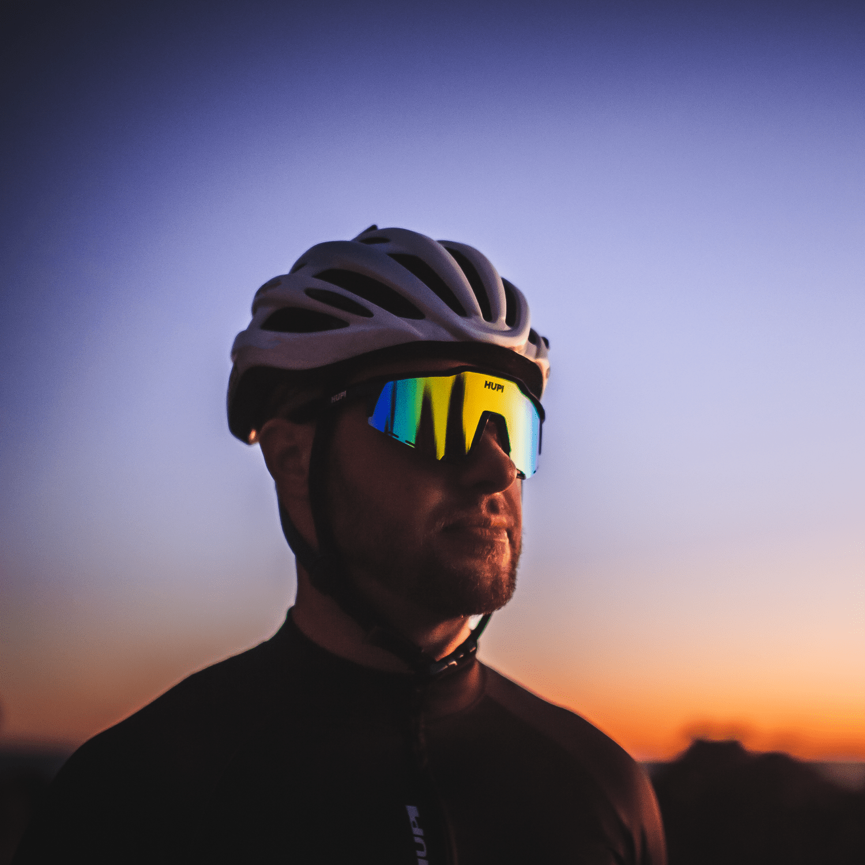 Óculos de Sol  HUPI Stelvio Preto/Roxo - Lente Roxo Espelhado