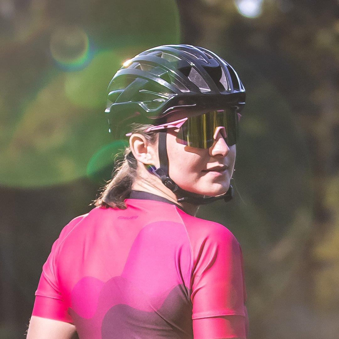 Óculos de Sol  HUPI Angliru Rosa/Preto - Lente Dourado Espelhado