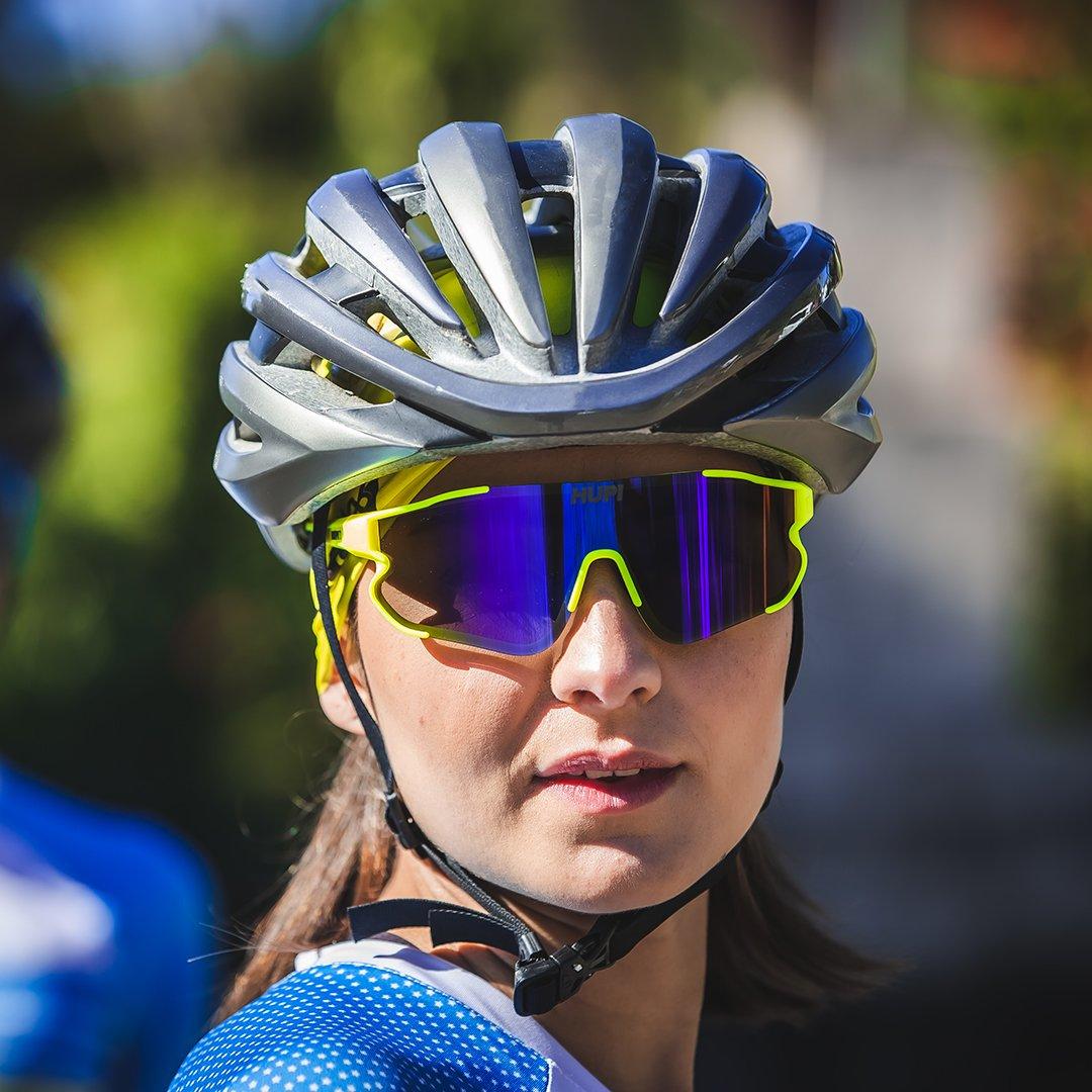 Óculos de Sol HUPI Bornio Amarelo Neon/Preto - Lente Azul Espelhado