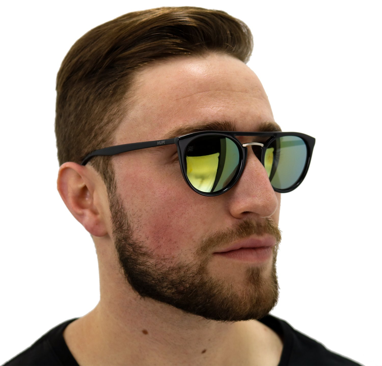 Óculos HUPI Ibiza Preto Brilho - Lente Verde Espelhada