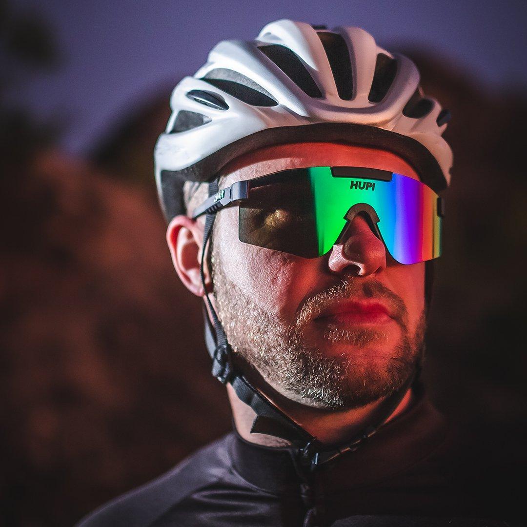 Óculos de Sol  HUPI Maverick Preto - Lente Verde Espelhado