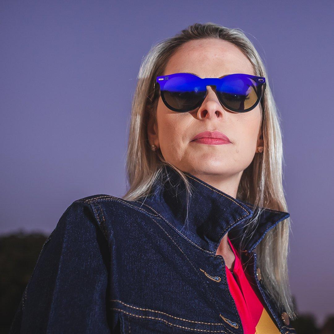 Óculos HUPI Tulum Preto - Lente Azul Espelhado