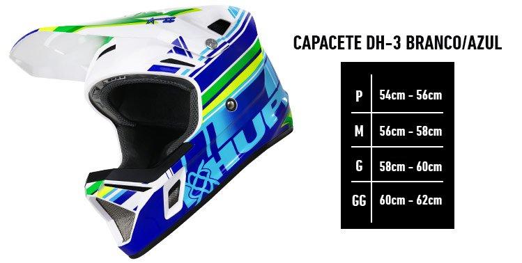 Capacete Hupi Dh-3 Branco e Azul