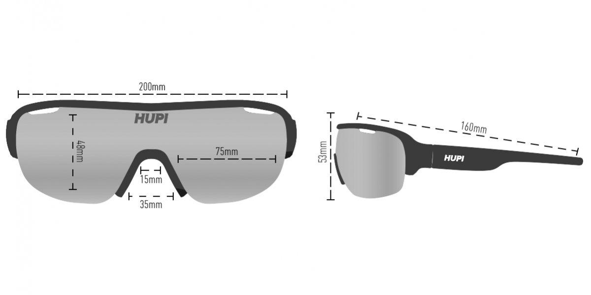 Óculos de Sol  HUPI Pacer Preto/Vermelho- Lente Transparente
